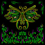 Bright butterfly with futuristic flower decor Stock Images
