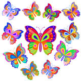 Bright butterfly set. Eleven bright motley butterflies isolated on white background. Vector illustration Stock Image