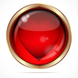Bright button with a red heart. Stock Photos
