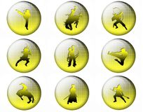 Bright buttons With silhouettes of soldiers Stock Photos
