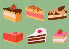Bright cake slices Stock Images