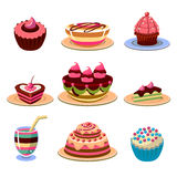 Bright Cakes and Dessert Icons Set Vector Stock Image