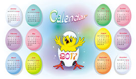 Bright calendar for 2017 with baby chicken. Bright  calendar for 2017 with a baby chicken and colored eggs Royalty Free Stock Image