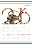 Bright calendar for 2016. Calendar for 2016 with a fiery monkey. Zentangl monkeys with figures. Week starts on Sunday Stock Image