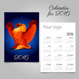 Bright calendar 2016 with Griffon decoration  Royalty Free Stock Photo