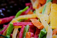 Bright candied fruits close up top view stock image