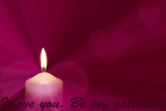 Bright candlelight with hearts. A bright candlelight with hearts Royalty Free Stock Photos