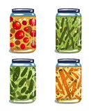 Bright Canned Pickled Vegetables Collection Stock Photo