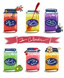Bright Canned Sweet Fruit Jam Collection Royalty Free Stock Photos