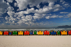 Bright Cape Town colors. Bright primary colors of bathing boxes at Muizenberg beach front Royalty Free Stock Image