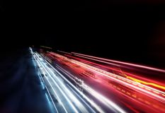 Bright Car Light Trails Royalty Free Stock Photos