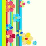 Bright card with a border of colored stripes and flowers. Stock Photo