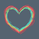 Bright card with doodle vector heart. Vector illustration Royalty Free Stock Photo