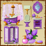 Bright card with interior objects of a bathroom Royalty Free Stock Photos