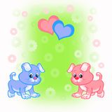 Bright card with two puppies Royalty Free Stock Photos