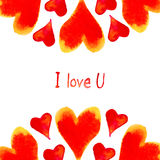 Bright card with watercolor hearts. Royalty Free Stock Photography