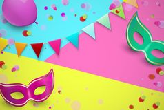 Bright carnival background with colorful masks and confetti. Bright carnival background with colorful masks, flags and confetti. Vector illustration Royalty Free Stock Photo