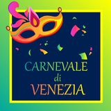 Bright carnival background with festive mask. Bright Venezia carnival background with festive mask and confetti, Italian. Vector illustration.r Stock Photography
