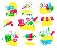 Bright Carnival Festive Labels Signs Icons Collection Isolated o. N White Background Royalty Free Stock Image