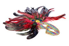 Bright carnival mask with peacock feathers Stock Image