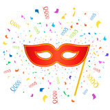 Bright carnival masks with confetti on white Stock Images