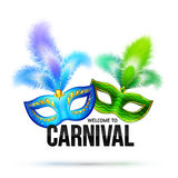 Bright carnival masks with feathers and black sign Stock Photo