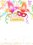 Bright carnival masks with feathers and golden Royalty Free Stock Photos