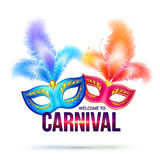 Bright carnival masks with feathers and shining Stock Photo
