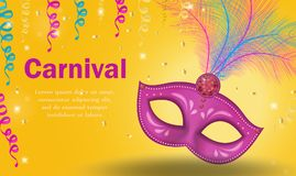 Bright carnival poster, invitation, greeting card. Masquerade Template for your design with mask feathers. Venetian. Carnival, Purim, Mardi Gras background Stock Images