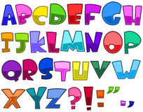 Bright cartoon alphabet. Set Royalty Free Stock Images