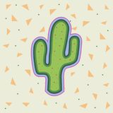 Bright cartoon cactus icon. Cute cacti plant. Peyote cactus icon on backgrond eith triangles Stock Photo