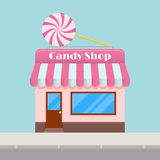 Bright cartoon candy store with a canopy, flat style. Royalty Free Stock Photos
