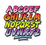 Bright cartoon comic graffiti doodle font alphabet. Stock Photo