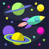 Bright cartoon cosmic illustration with rocket and funny planets in open space for use in design for card, poster, banner, placard Stock Photos