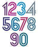 Bright cartoon double striped numbers Royalty Free Stock Image