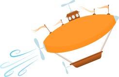 Bright Cartoon Fantasy Airship Sores Up Stock Images