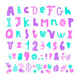 Bright cartoon font. Royalty Free Stock Images
