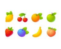 Bright cartoon fruit set Stock Photos