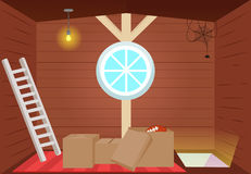 Bright cartoon interior attic. Stock Images