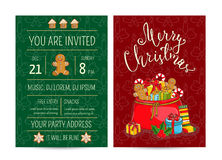 Bright Cartoon Invitation on Christmas Fun Party Stock Images