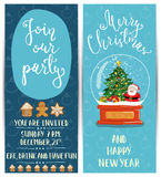 Bright Cartoon Invitation on Christmas Fun Party Royalty Free Stock Photos