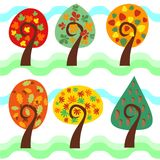 Set of bright isolated autumn trees with leaves, cones and acorns. Royalty Free Stock Photography