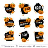 Halloween badges set. Carved pumpkins and text. Bright cartoon labels with editable copy space for holiday sales and parties stock illustration