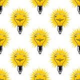 Bright cartoon light bulbs seamless pattern Stock Image