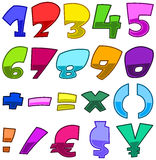Bright cartoon numbers Stock Images