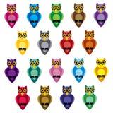 Bright cartoon owls background Stock Photo