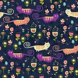 Bright cartoon pattern with animals Stock Photography