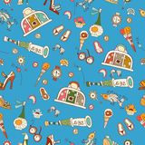 Bright cartoon pattern with summer vacation icons Stock Photos