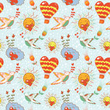 Bright cartoon romantic seamless pattern Royalty Free Stock Photos