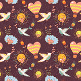 Bright cartoon romantic seamless pattern Royalty Free Stock Images